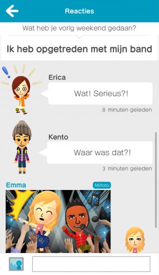 Een gesprek in Miitomo, de eerste smartphone-app van Nintendo.
