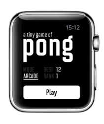 A Tiny Game of Pong voor de Apple Watch met twee spelopties.