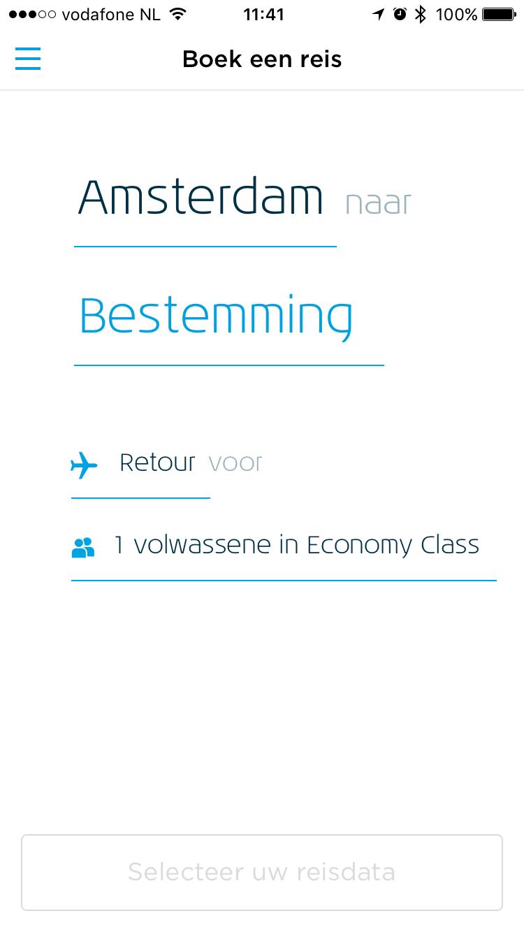 Een reis boeken met KLM op de iPhone.