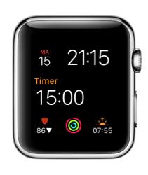 HeartWatch op de Apple Watch met complicatie.