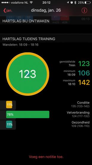 HeartWatch toont ook je trainingsinspanningen.