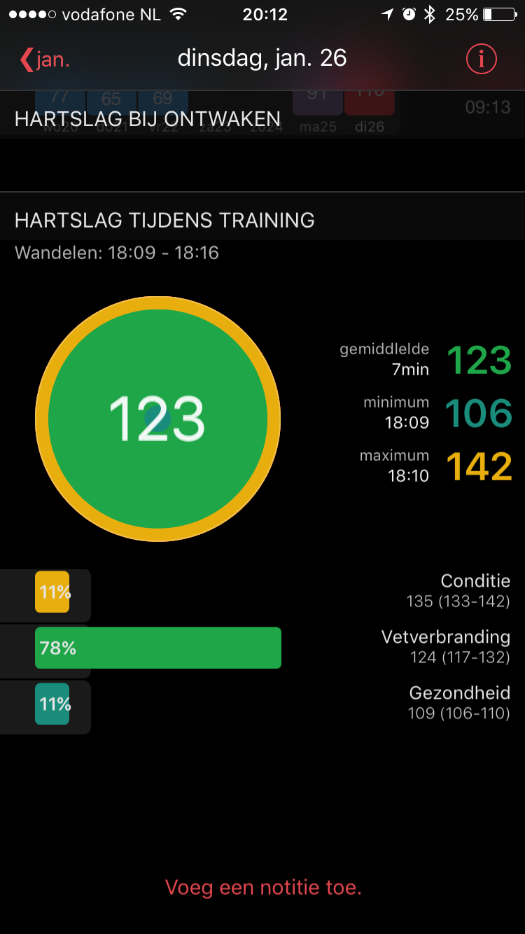 HeartWatch toont ook je trainingsinspanningen.