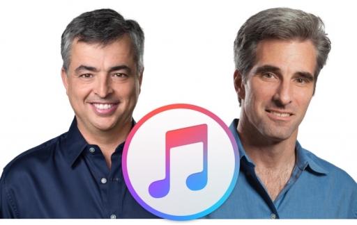 Eddy Cue en Craig Federighi met iTunes-logo