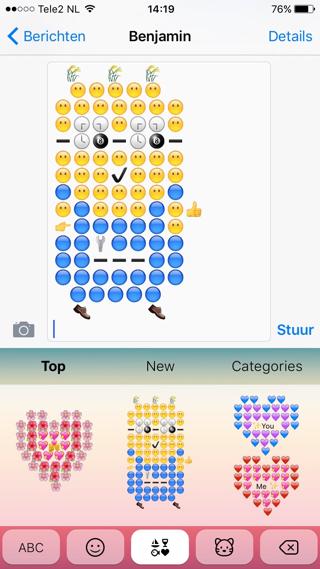 Verstuur Emoij-kunstwerken met het Emoji Toetsenpaneel
