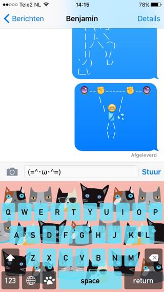 KittyKey is een emoji-toetsenbord voor kattenliefhebbers.