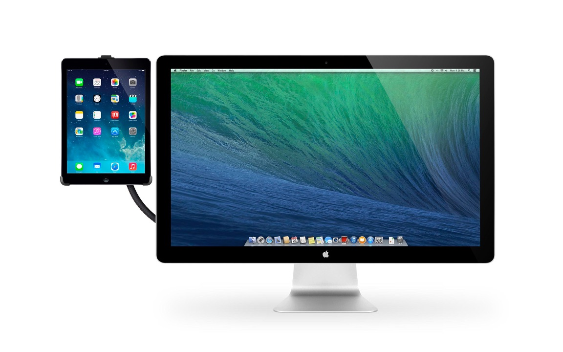 HoverBar for iPad bevestigd aan een Thunderbolt Display.