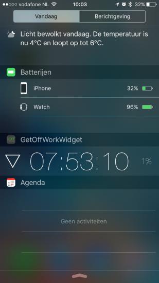 GetOffWork heeft een widget voor in het Berichtencentrum.