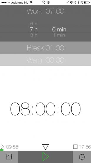 GetOffWork houdt bij hoe lang je werkdag nog duurt.