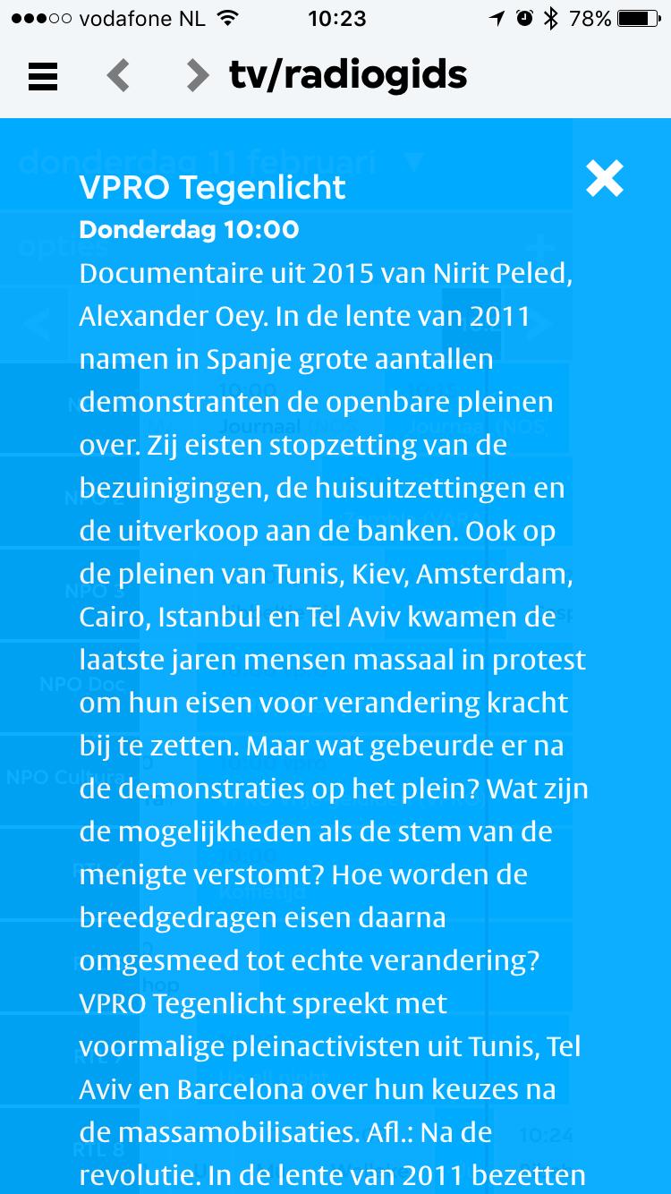 Programma informatie in VPRO Koos.