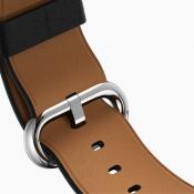 Lederen Apple Watch-band met contrasterende binnenlaag.