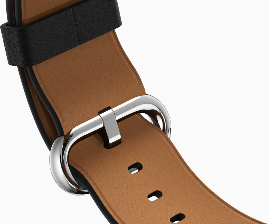 Lederen Apple Watch-band met contrasterende binnenlaag.