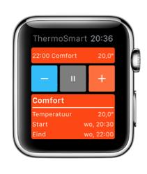 ThermoSmart-app voor de Apple Watch laat je de temperatuur aanpassen.