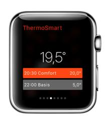 ThermoSmart-app voor Apple Watch laat je huidige programma bekijken.