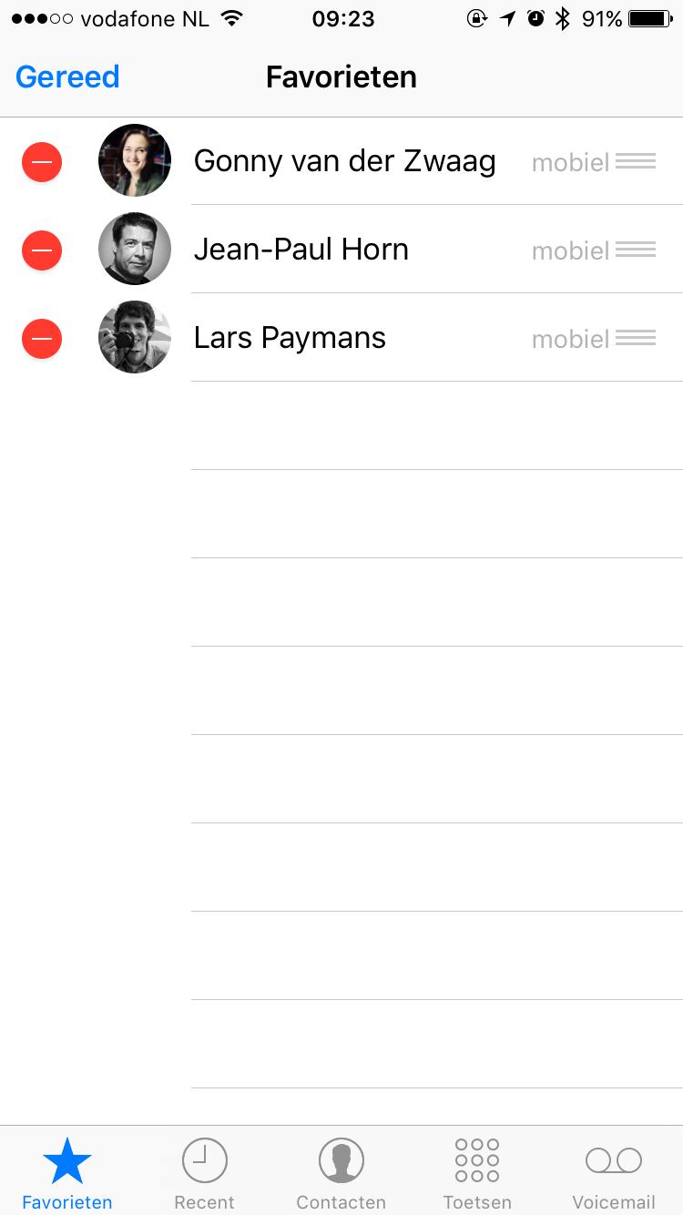 Favoriete contactpersonen selecteren in Telefoon-app.