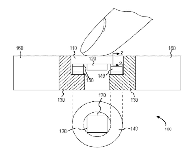 Patent voor een drukgevoelige Touch ID-knop.