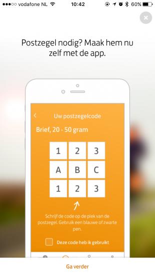 Postzegelcode in PostNL-app.