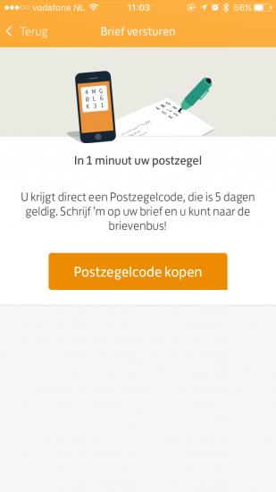 Een postzegel maken in de PostNL-app.