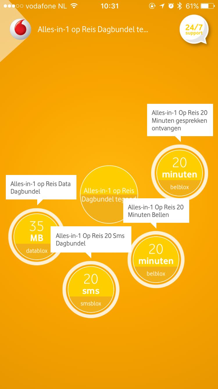 My Vodafone met buitenlandtegoed.