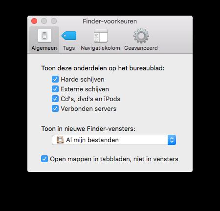 Finder-voorkeuren op de Mac.