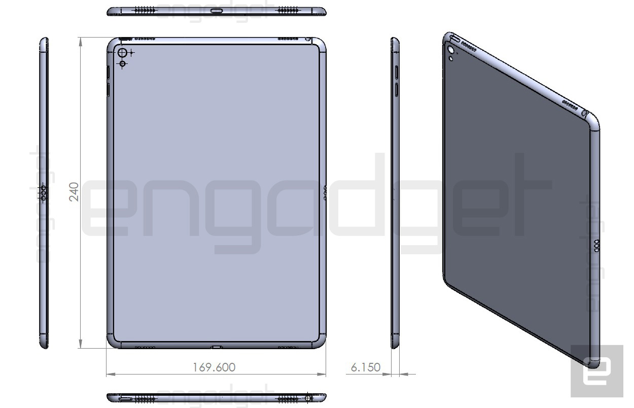 iPad Air 3-tekening toont dikkere en bredere iPad.