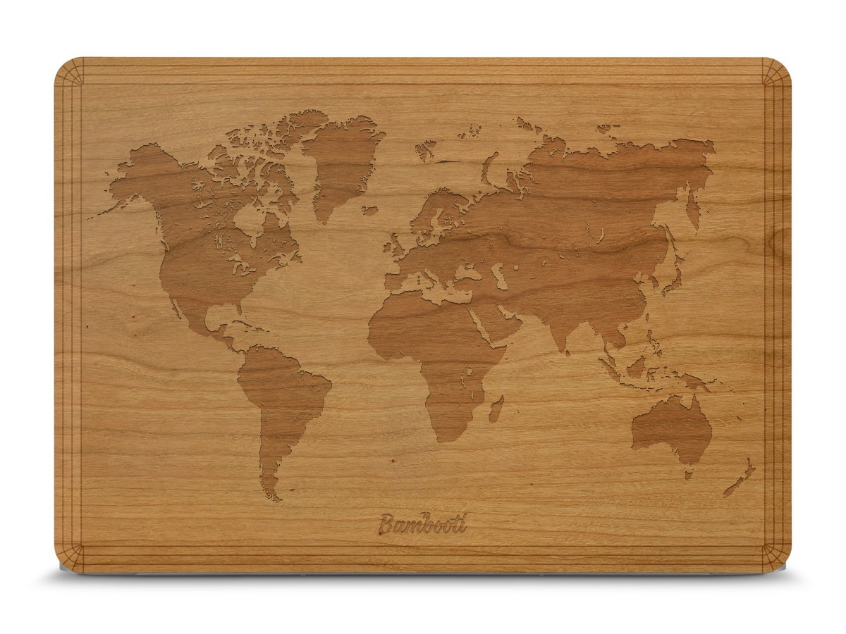 Bambooti-skin voor je MacBook met wereldkaart.