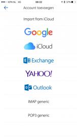 Airmail: ondersteunde emaildiensten