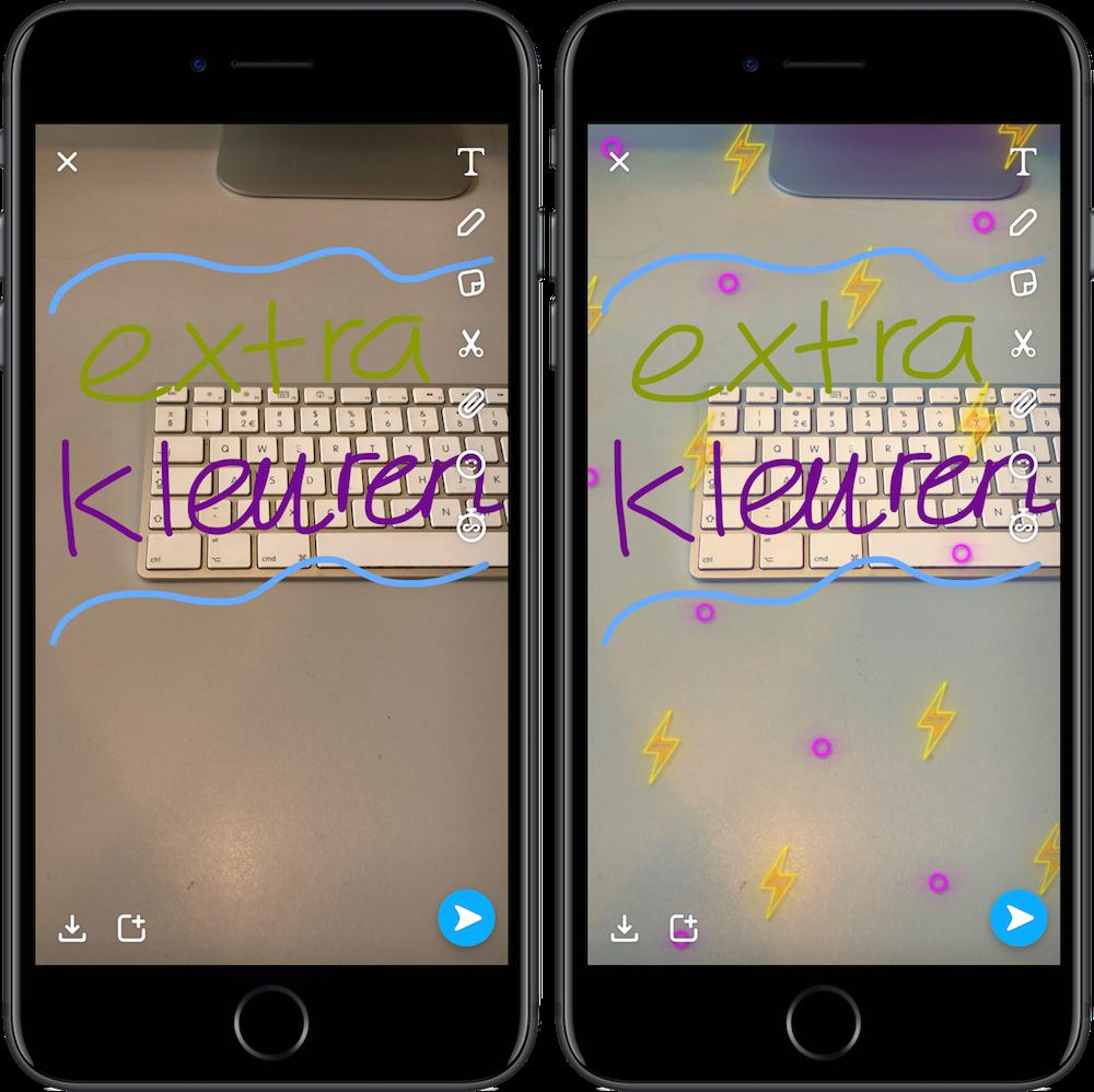 Extra kleuren en twee filters tegelijk gebruiken in Snapchat