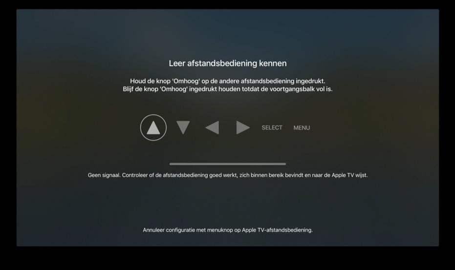 Afstandsbediening configureren voor Apple TV.
