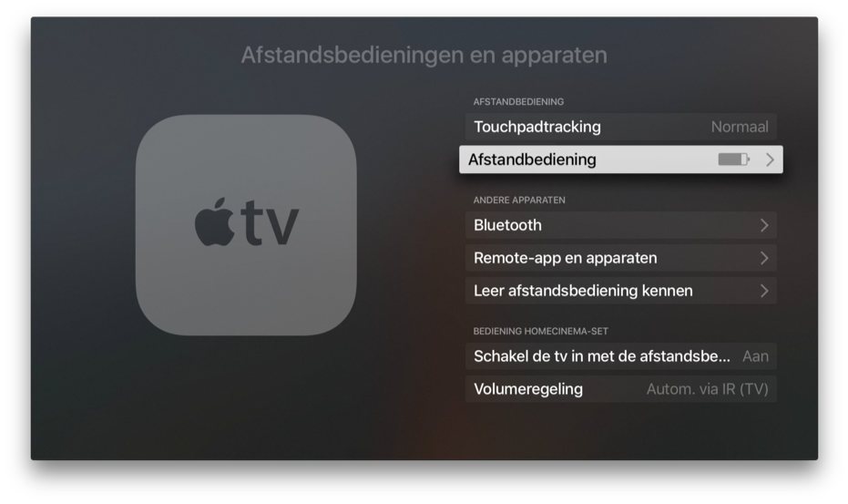 Apple TV afstandsbediening en apparaten.
