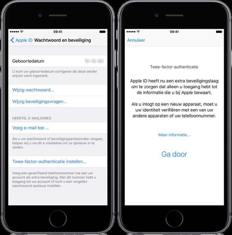 Tweefactorauthenticatie instellen op de iPhone.
