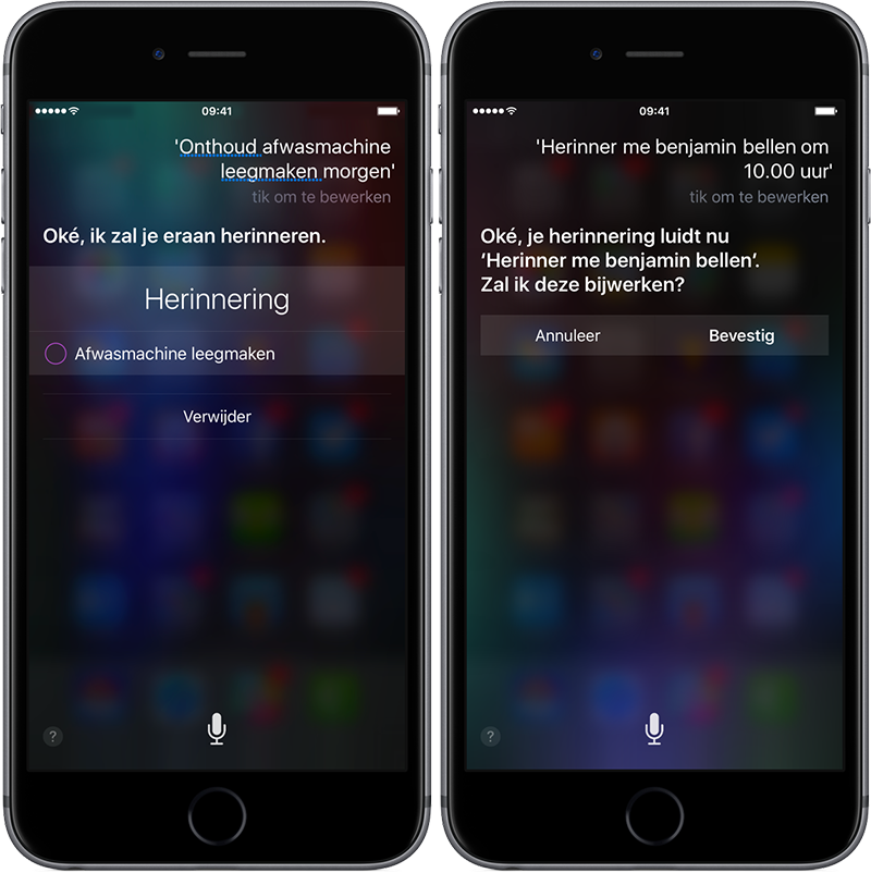 Herinneringen Siri instellen