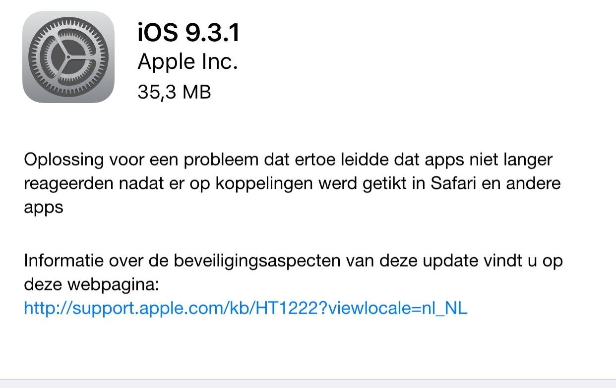 iOS 9.3.1 - update voor linkbug