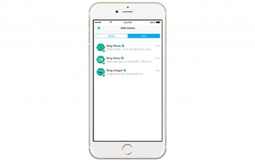 Skype bots in de iPhone-app.