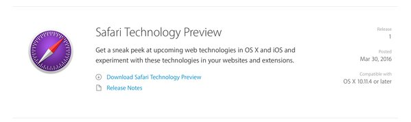 Safari Technology Preview release op ontwikkelaarswebsite van Apple.