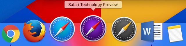 Safari Technology Preview in een dock op de Mac.