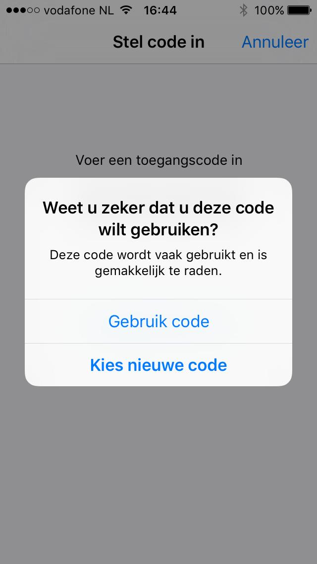 iOS pop-up: Toegangscode vereist - ontgrendelcode wijzigen