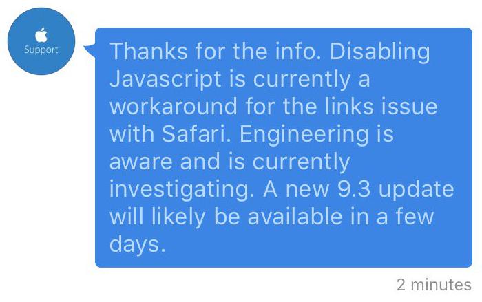 Oplossing voor linkjes in Safari