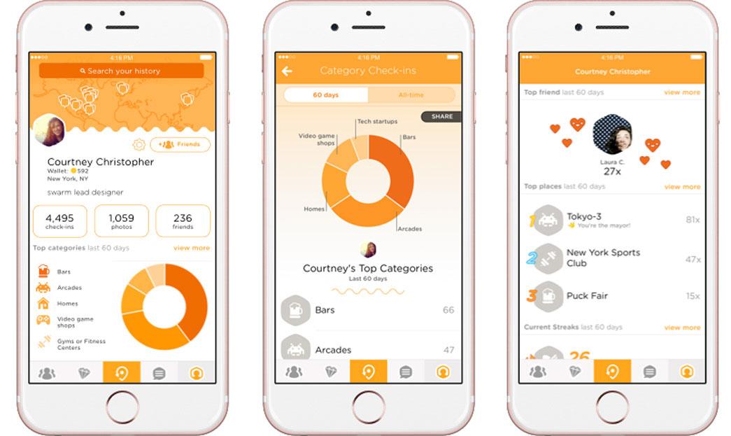 Swarm op de iPhone: drie schermen