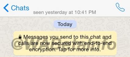 Een chat met encryptie in WhatsApp.