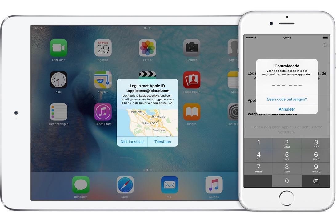 Tweefactorauthenticatie instellen voor je Apple ID en iCloud.