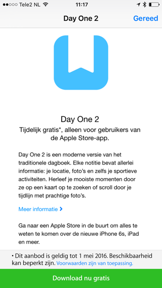 Day One 2 is gratis te downloaden via de Apple Store-app.