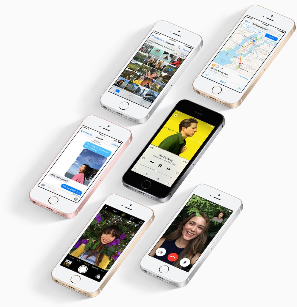iPhone SE collage met verschillende apps