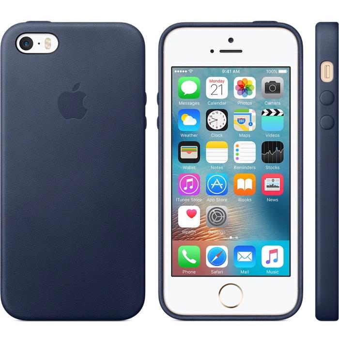 Leren hoesje iPhone SE in middernachtblauw.