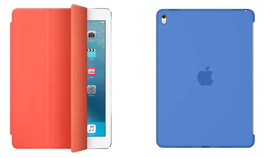 De nieuwe Smart Cover en siliconenhoes voor de 9,7-inch iPad Pro in abrikoos en koningsblauw.