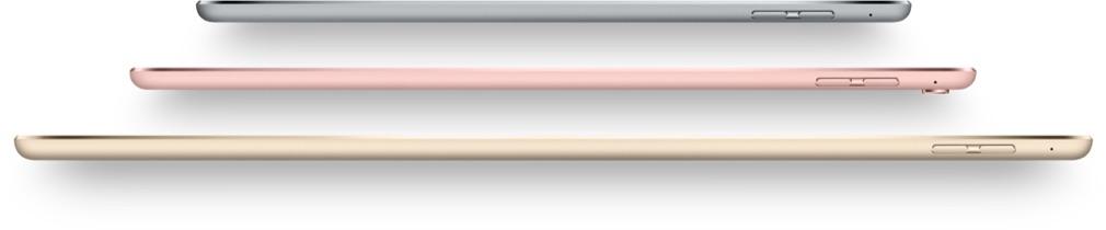 De iPad-kleuren voor 2016: spacegrijs, roségoud en goud.