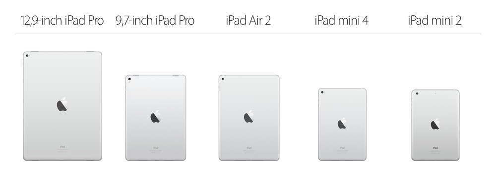 De iPad line-up van 2016.