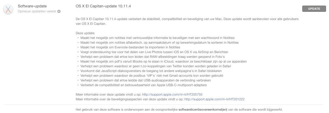 De releasenotes van OS X El Capitan 10.11.4.
