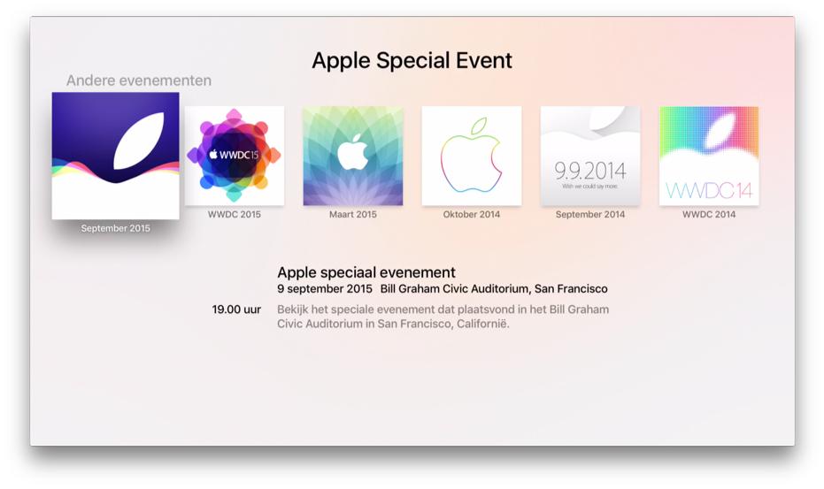 Apple Event-app voor de Apple TV met verschillende events.