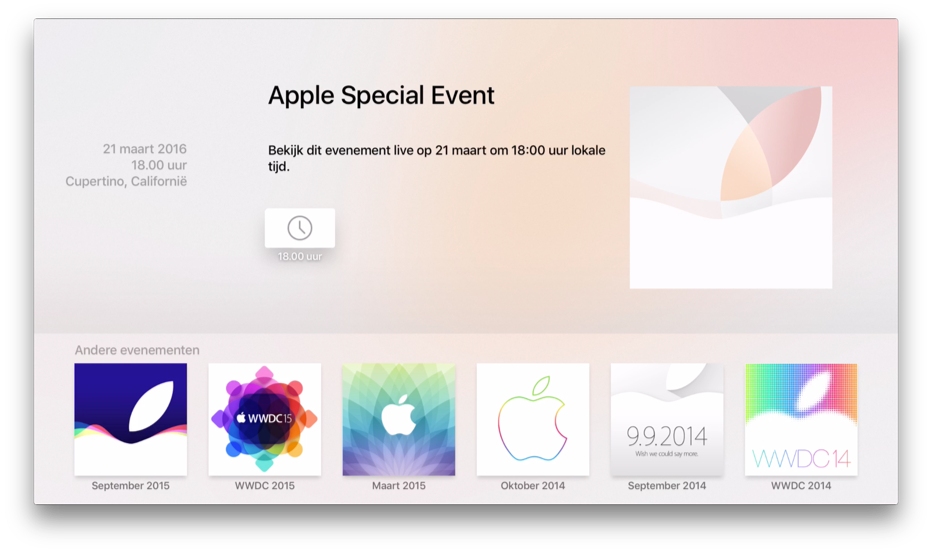Apple TV-app voor Apple Events met event voor maart 2016.
