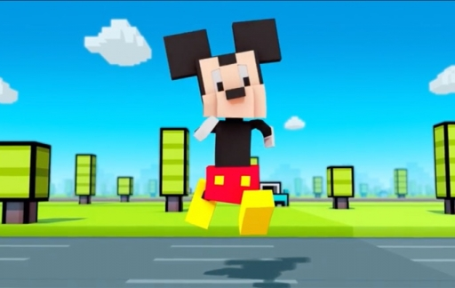 Disney Crossy Road met Mickey Mouse.